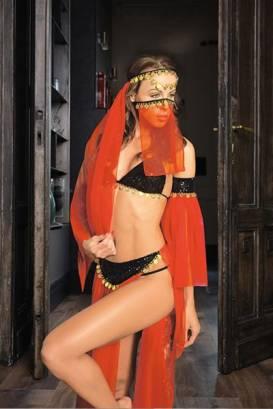 - Kırmızı Peçeli Seksi Dansöz Kostümü